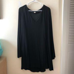Long Sleeve Black Flowy Dress